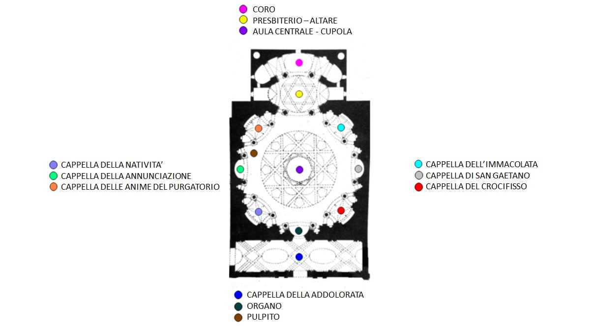 mappa della Real Chiesa di San Lorenzo